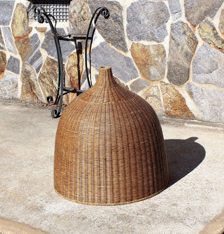 X-Large Vintage Wicker  Hanging Ceiling Light Fixture Shade
