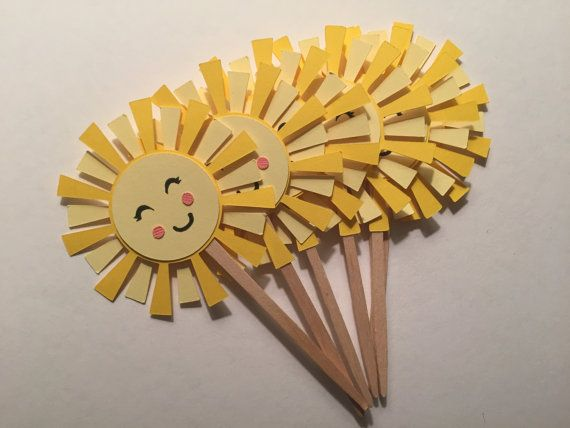 Sunshine Cupcake Toppers/Food Picks  12 Count by TypeandTassel