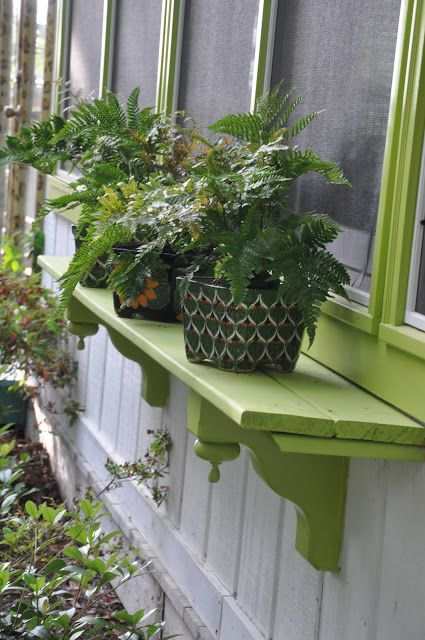 "Love these outdoor shelves for plants!  Jane Coslick Cottages : A Little Sunday Fun at ""Tween Waters Cottage"""