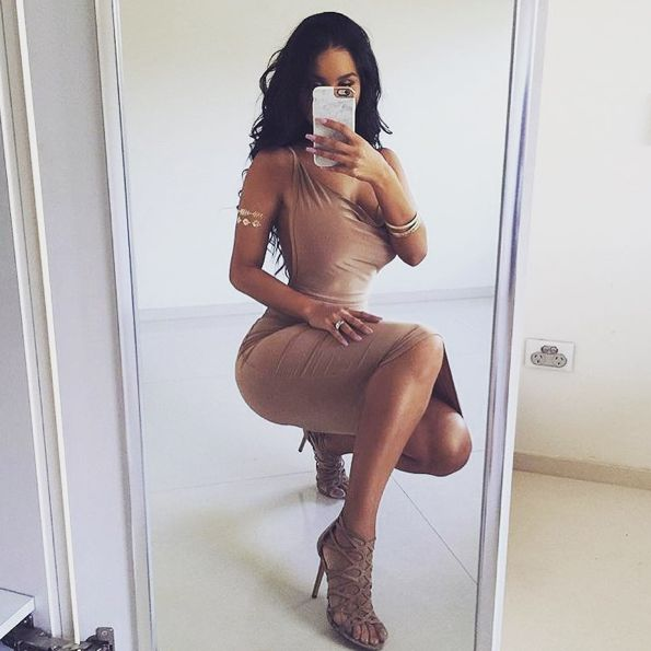 Lydia Boss wearing 'Randa' by Siren.  Available in Nude & Black