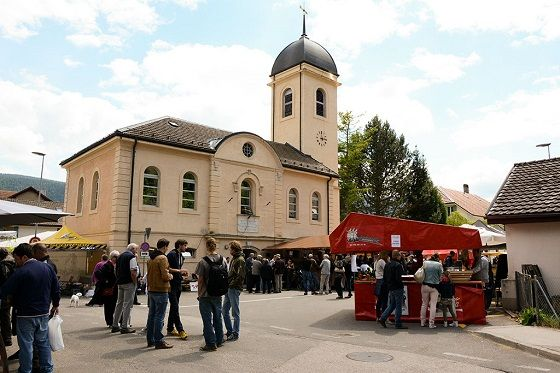 Fête de l'Absinthe 2015 at Boveresse, Switzerland. That's in front of the church, where the absinthe festival takes place every year.