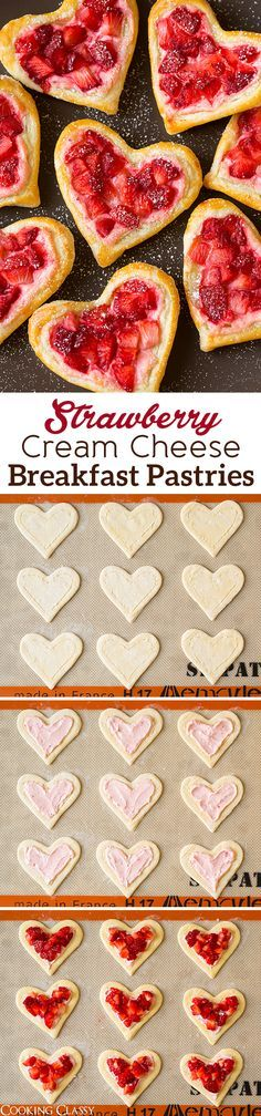Heart-Shaped Strawberry Cream Cheese Breakfast Pastries - pretty and delicious! Love that flaky puff pastry with the strawberry cream cheese!