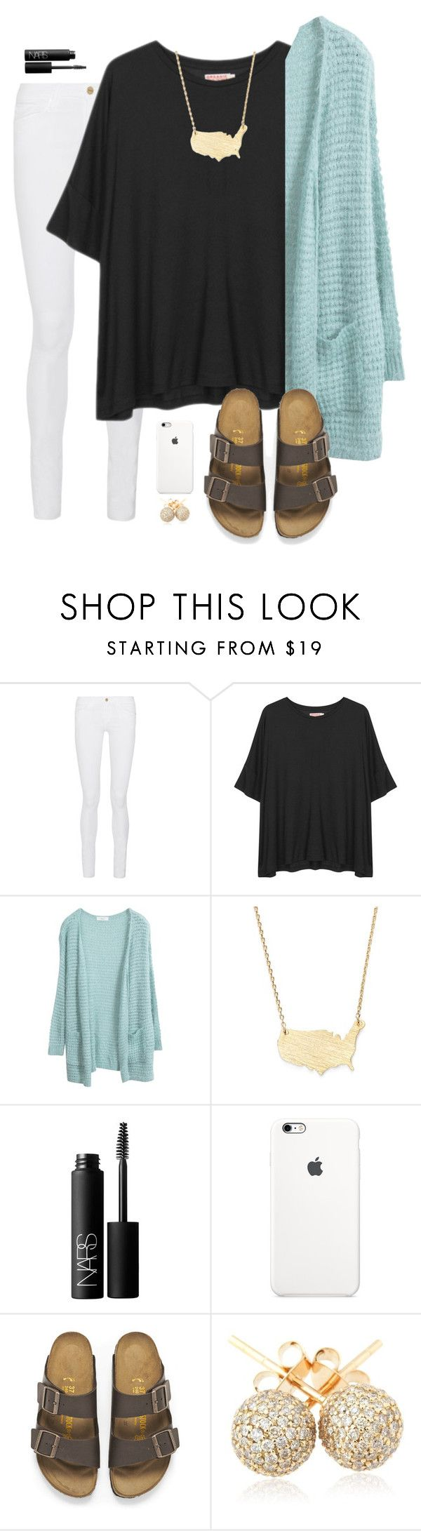 """what did you wear today? possible s/o?"" by madiweeksss ❤ liked on Polyvore featuring Frame Denim, Organic by John Patrick, Moon and Lola, NARS Cosmetics, Birkenstock and Loushelou"