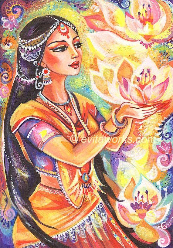 Goddess India Spiritual Lotus Devi Ethnic Fantasy by evitaworks, $16.00