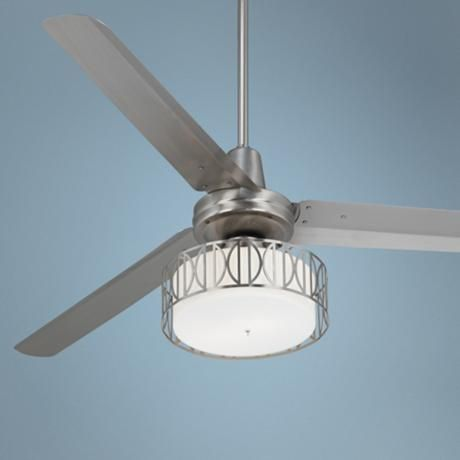 "60"" Casa Vieja Turbina Art Deco Brushed Steel Ceiling Fan - #R4144-U0503 | LampsPlus.com - For the master bedroom"