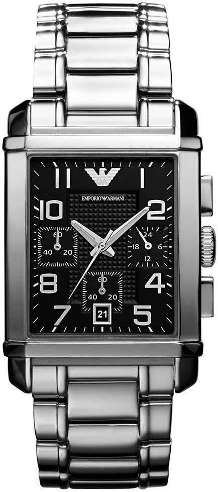 Relógio de luxo da Emporio Armani HAR0334N  Linha de relógio de luxo masculino com cronógrafo  Relógio masculino com pulseira de aço  Modelo de relógio masculino retangular   Relógio com mostrador preto  Relógio com calendário dia do mês  Vidro de cristal mineral  Resistente a água WR   Garantia Nacional de 12 meses do fabricante