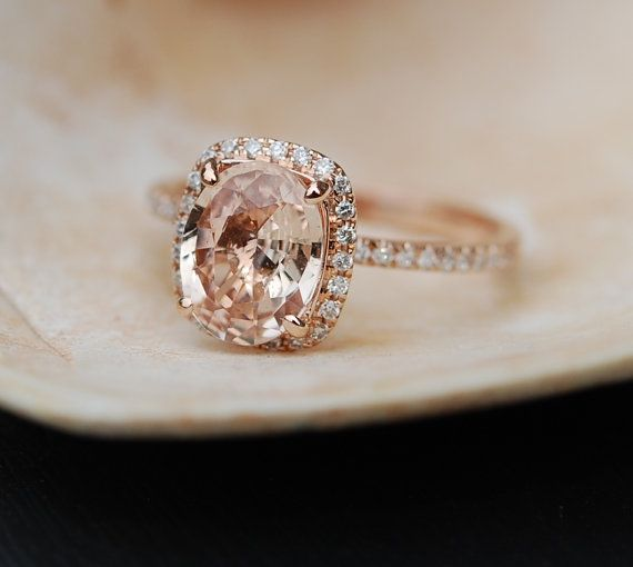 Peach Sapphire Ring Rose Gold Engagement Ring by EidelPrecious