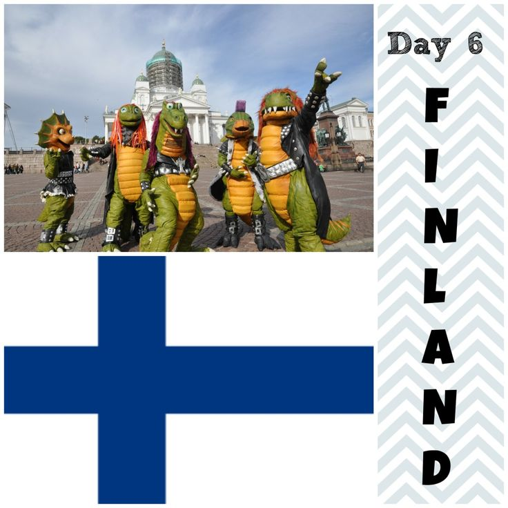 """On Day 6 we visit the Nordic country of Finland. The Song of the Day is """"Viimeinen mammutti"""" and it's sung by a group of heavy metal dinosaurs."""