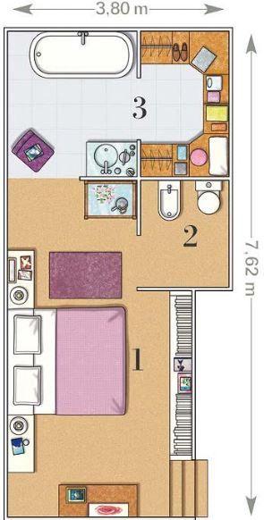Planos de dormitorios matrimoniales con baño y vestidor