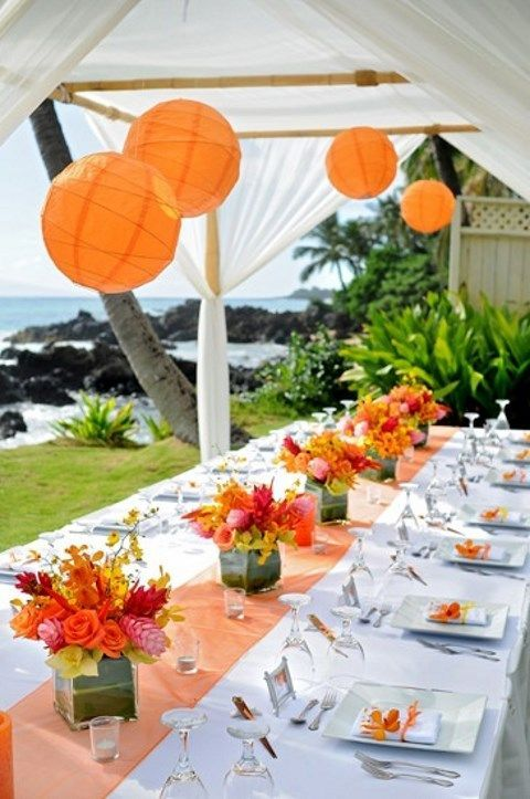 57 Cheerful Tropical Wedding Table Settings : tropical wedding table settings - pezcame.com