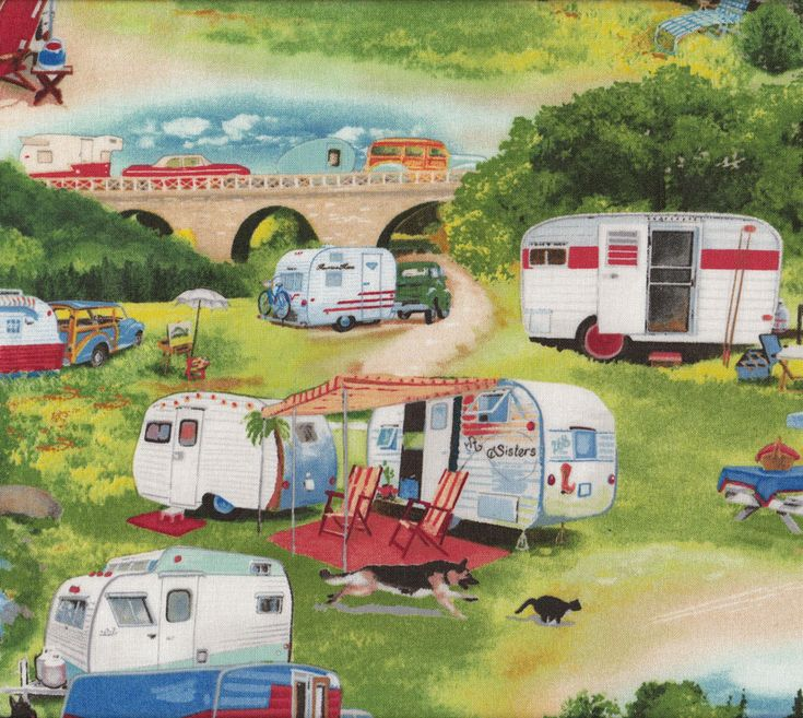 Retro Caravans Camping Trees Nature Quilt Fabric - Find a Fabric. Available to purchase in Fat Quarters, Half Metre, 3/4 Metre, 1 Metre and so on.