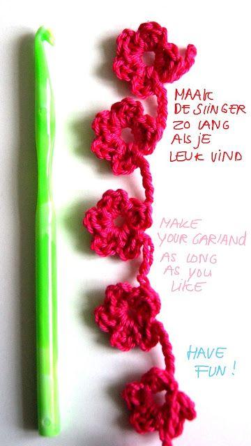 Easy Crochet Flower Garland (variation) - Photo Tutorial <3