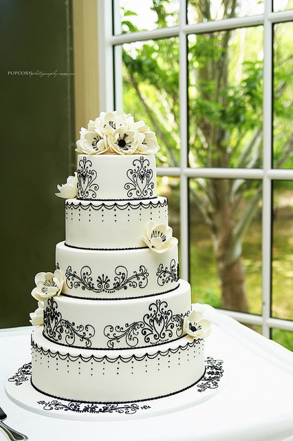 Black and White Lace Piping Cake by sugar_rush_confections, via Flickr