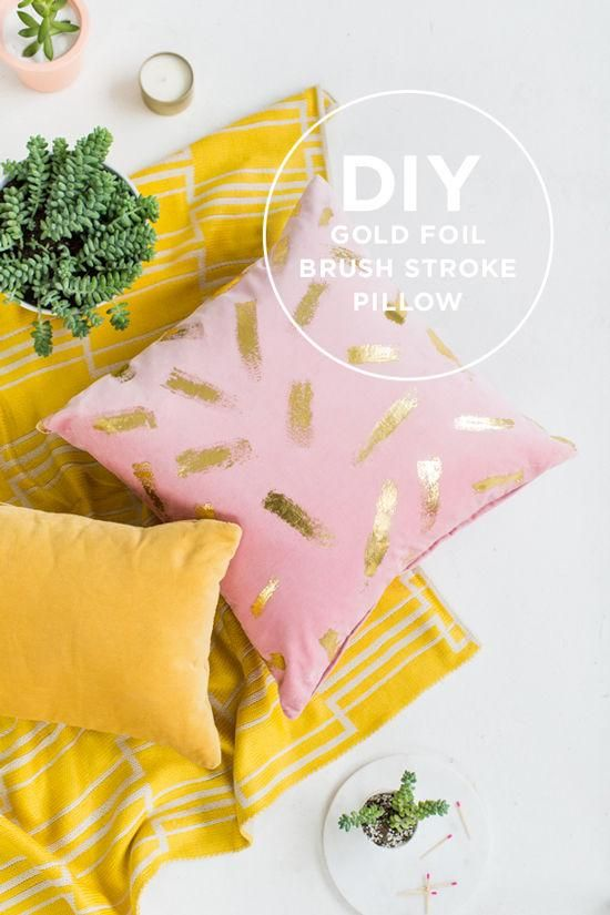 Weekend project we love: Gold foil pillow. #DIY