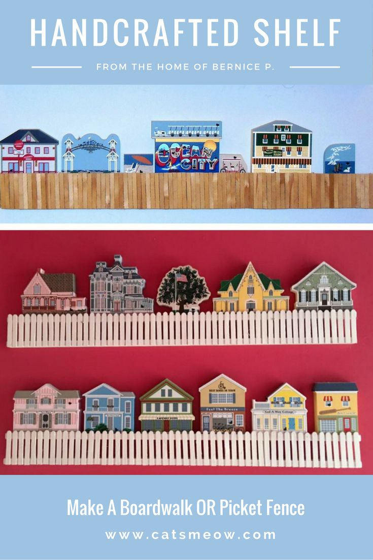 Cat's Meower, Bernice P. used her craftiness to create these 2 styles of shelves for her home. EASY! Cut popsicle sticks in half and start gluing! Bernice explains more.