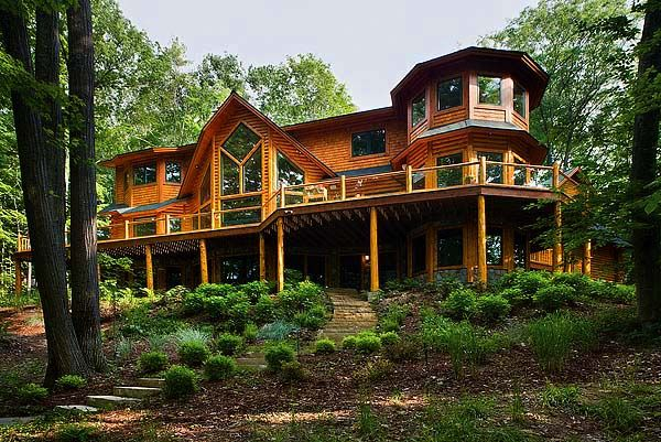 The tower is quite a site for the sights. More photos from Custom Cedar Log Homes