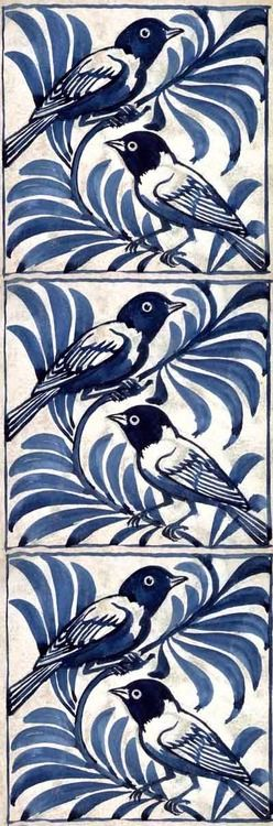 Weaver birds tile by William de Morgan. Blue and white tiles are the best!