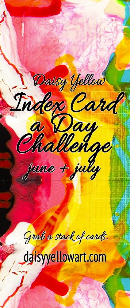 The 7th annual challenge starts June 1, 2017. while you are waiting ⏳☎️⛱ grab a journal and start the Prompt60 Prompts or the Muse30 Prompts  The Official List of Frequently Asked Questions The 2017 Index-Card-a-Day Challenge June 1 to July 31, 2017  The challenge is about the DOING and not the KEEPING or PRESERVING or ARCHIVING.  It is the process of creating each day that matters.  An annual creative challenge Facilitated by Daisy Yellow Buy a pack of index cards ♥ draw ♥ do...