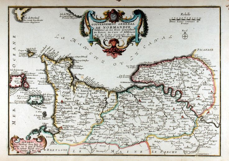 De Fer - Normandie France Original map Karte copper engraving 1705 coloured
