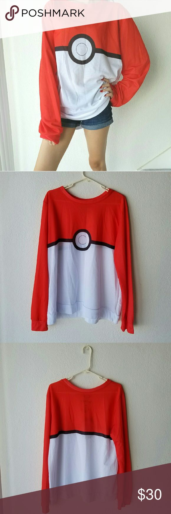 Long Sleeve Pokemon Shirt Super long sleeve Pokemon shirt. Never Worn. No Stains. Not see through as shown in model picture. Length is Mid thigh. Can fit S - XL. No Trades. Free Gift with Purchase. Bundle Discounts. Hot Topic Tops Sweatshirts & Hoodies