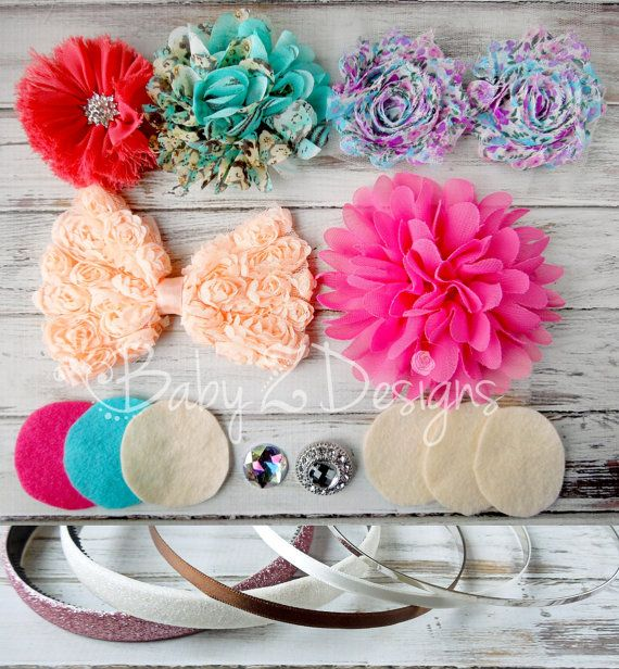 DIY Headband Kit in Aqua Coral Peach Pink and by babyzdesigns