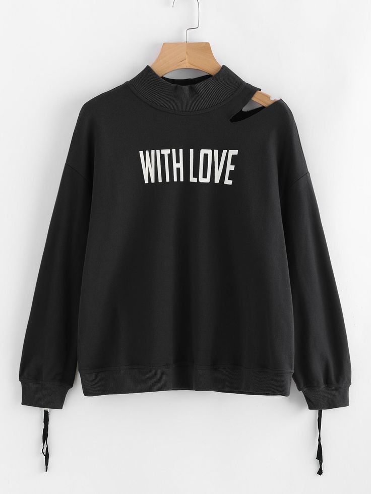 Shop Cutout Shoulder Zip Cuff Graphic Sweatshirt online. SheIn offers Cutout Shoulder Zip Cuff Graphic Sweatshirt & more to fit your fashionable needs.