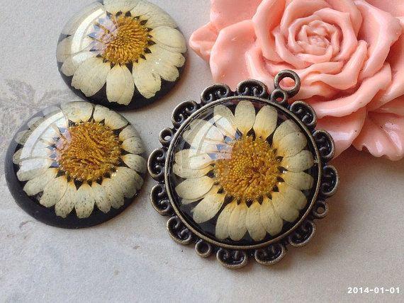 25 mm Round Shape Dried Flowers Black Base Sunflower Print Flat Back Resin Cabochons (.gm)