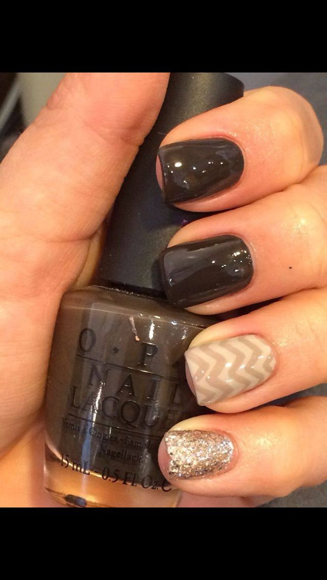 Black and Tan, glitter and chevron gel nails