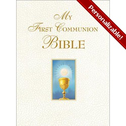 My First Communion Bible - White Cover - great full page illustrations kids will love, paraphrased Bible stories, and can be personalized on the front for a special touch, $24.95.