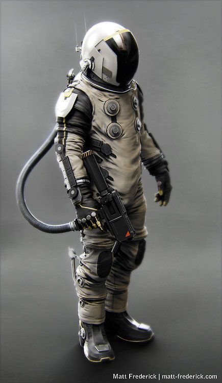 Futuristic space suit concept art