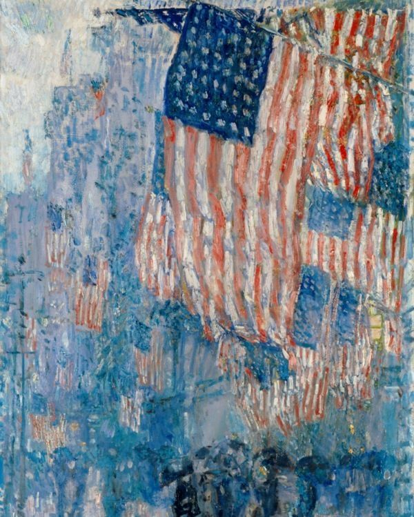 LARGE AMERICAN FLAG FLAGS AVENUE IN THE RAIN OIL PAINTING ART PRINTREAL CANVAS #Impressionism