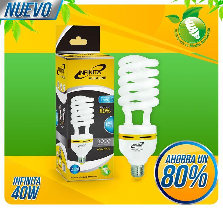 e presentamos el nuevo Bombillo Ahorrador 40W, ahorra un 80% de energía en comparación a los bombillos tradicionales.   AMIGABLE CON EL MEDIO AMBIENTE Y CON TU BOLSILLO.  #calidad #bombillas #ahorro
