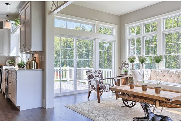 Deck conversion - wide open instead of sliders and windows. The types of windows will have to match the neighbors..plain picture windows. Our sunroom would be much narrower (7.5' x 18') -mls