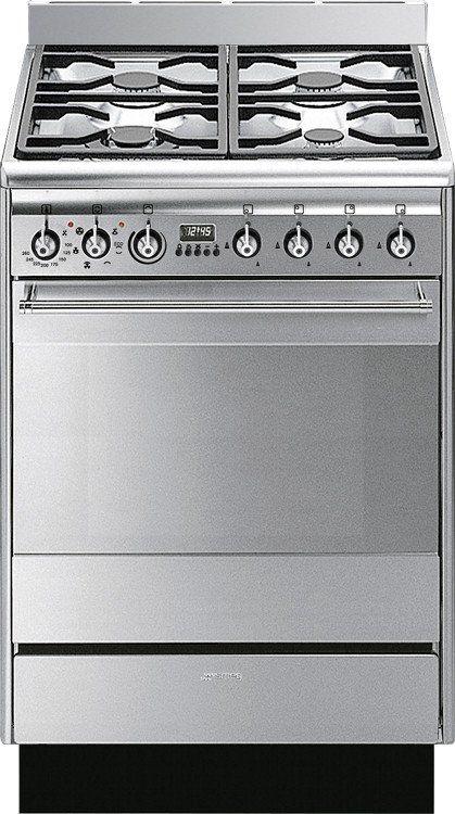 Smeg SUK61MX8 Concert Dual Fuel Cooker 600mm Wide Stainless Steel - Moores Appliances Ltd.