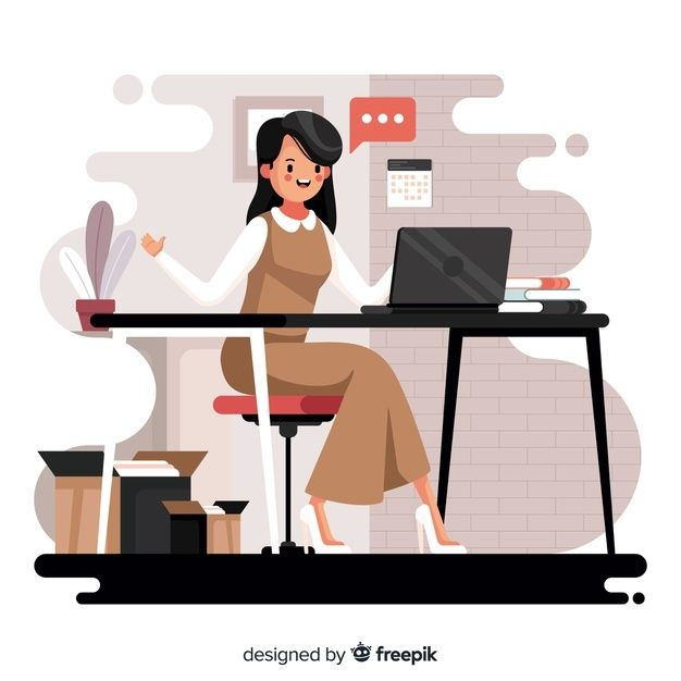 Woman Working At The Office Free Vector Free Vector Freepik Freevector People Computer Flat Design Illustration Vector Character Design Flat Illustration