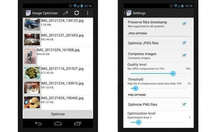 Image Optimizer, liberar espacio en Android optimizando las imágenes