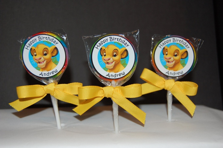 15 Simba Personalized Birthday Lollipops by CandyWrapperCreation, $12.99