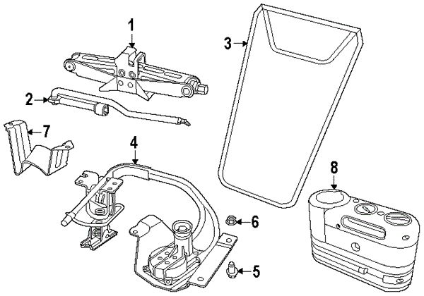 2012 Fiat 500 c Lounge Jack & Components Diagram (With