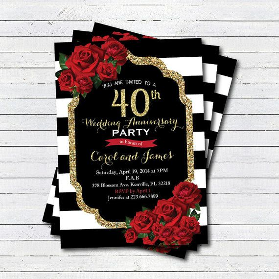 40th wedding anniversary invitation. Red rose black and white stripe, gold glitter 40th wedding anniversary. Printable digital invite. AN101