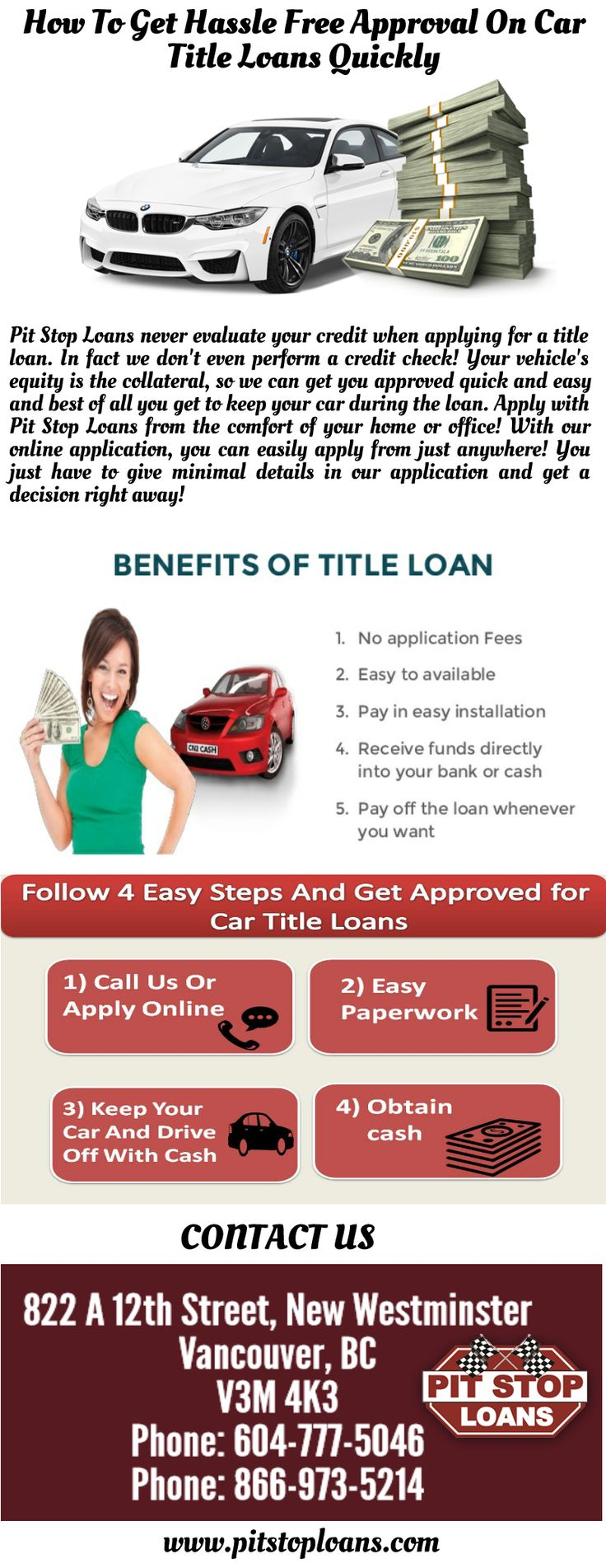You can get hassle free approval on car title loans with Pit Stop Loans. We offer quick and instant approval on title loans at lowest interest rates with no prepayment penalty. Our monthly payments are low. For more information visit http://www.pitstoploans.com/car-title-loans-surrey-british-columbia