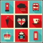 Poster retro da colagem de Londres do estilo com fundo customizável. Mais produtos com o mesmos projetam disponível em minha loja.