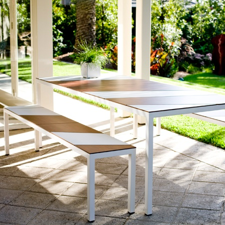 The Patch outdoor table and bench, designed and manufactured by Tait Outdoor