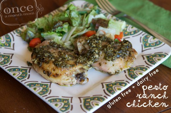 Gluten Free Dairy Free Pesto Ranch Chicken from Once A Month Mom | OAMC from Once A Month Meals