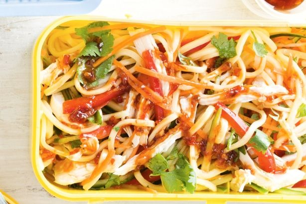 Brighten up the school day with this quick and healthy chicken noodle salad.