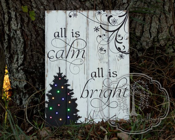 Light Up Christmas Wood Sign  All Is Calm by TheRustyWillowShop