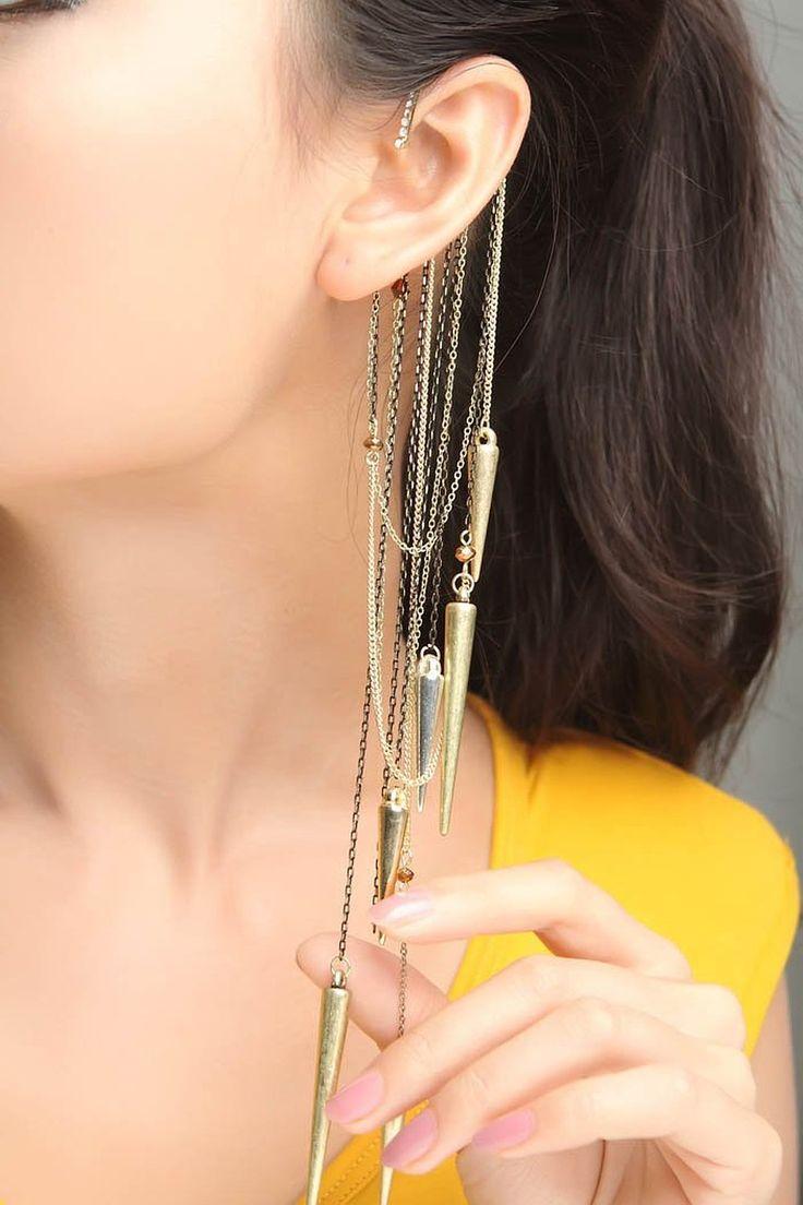 Via Mazzini Believe In Magic Spiked Ear Cuff Earrings for Women (Single Piece) ER0147 #Indian #Jewellery #Earrings