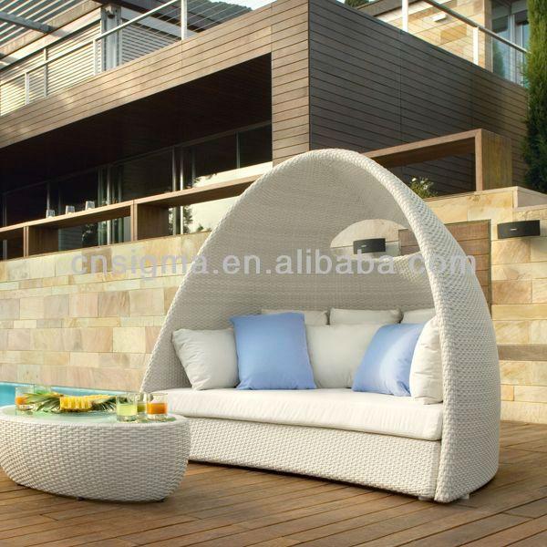 2017 Diseño de Muebles Rota DEL PE Sintético diván De Mimbre Solárium Al Aire Libre