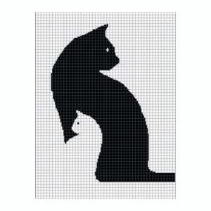 Free Crochet Cat Afghan Pattern | COZYCONCEPTS CAT KITTEN SILHOUETTE CROCHET AFGHAN PATTERN GRAPH by ...