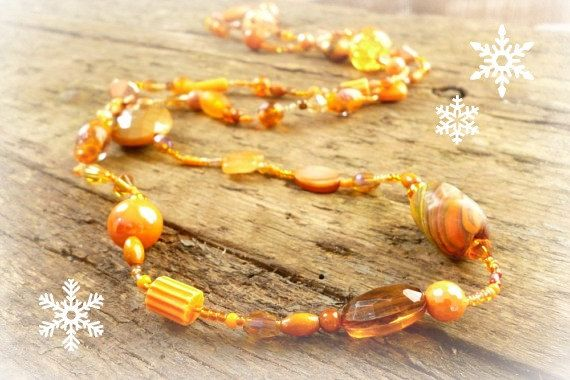 Orange long beaded Necklace long bead necklace by reccabella
