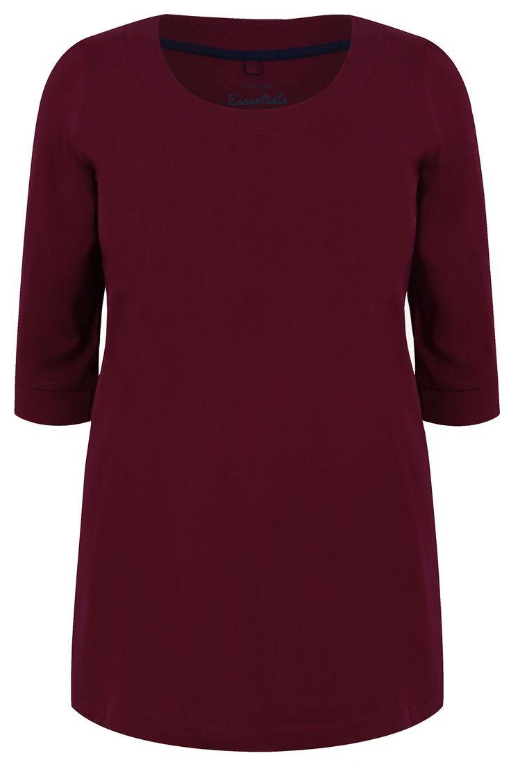 Burgundy Scoop Neckline T-shirt With 3/4 Sleeves